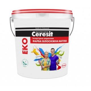 Ceresit ЭКО, краска акриловая белоснежная матовая, 10 л