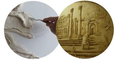 В зависимости от вкуса и мастерства с помощью штукатурки могут быть выполнены различные барельефы